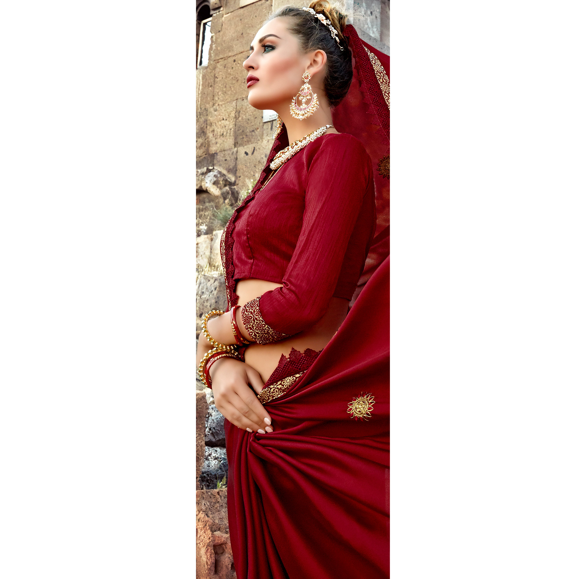 Attractive Maroon Colored Party Wear Embroidered Georgette Saree