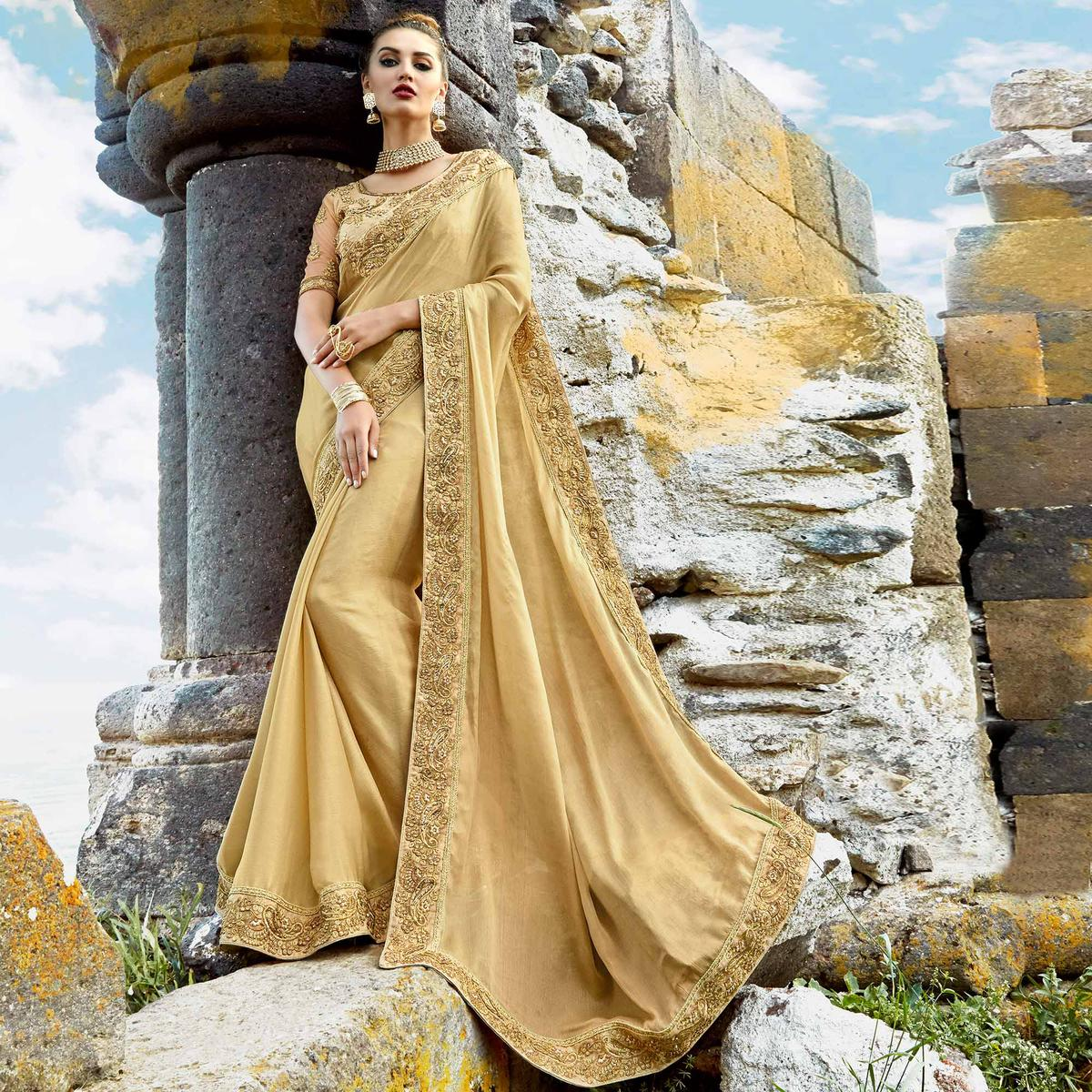 Beautiful Beige Colored Party Wear Embroidered Chiffon Saree