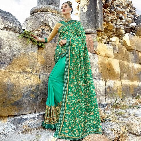 Prominent Sea Green Colored Party Wear Embroidered Art Silk-Georgette Saree