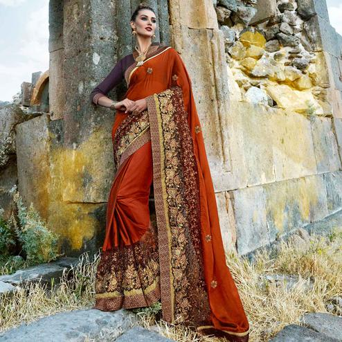 Adorning Rust Orange Colored Party Wear Embroidered Silk Georgette Saree