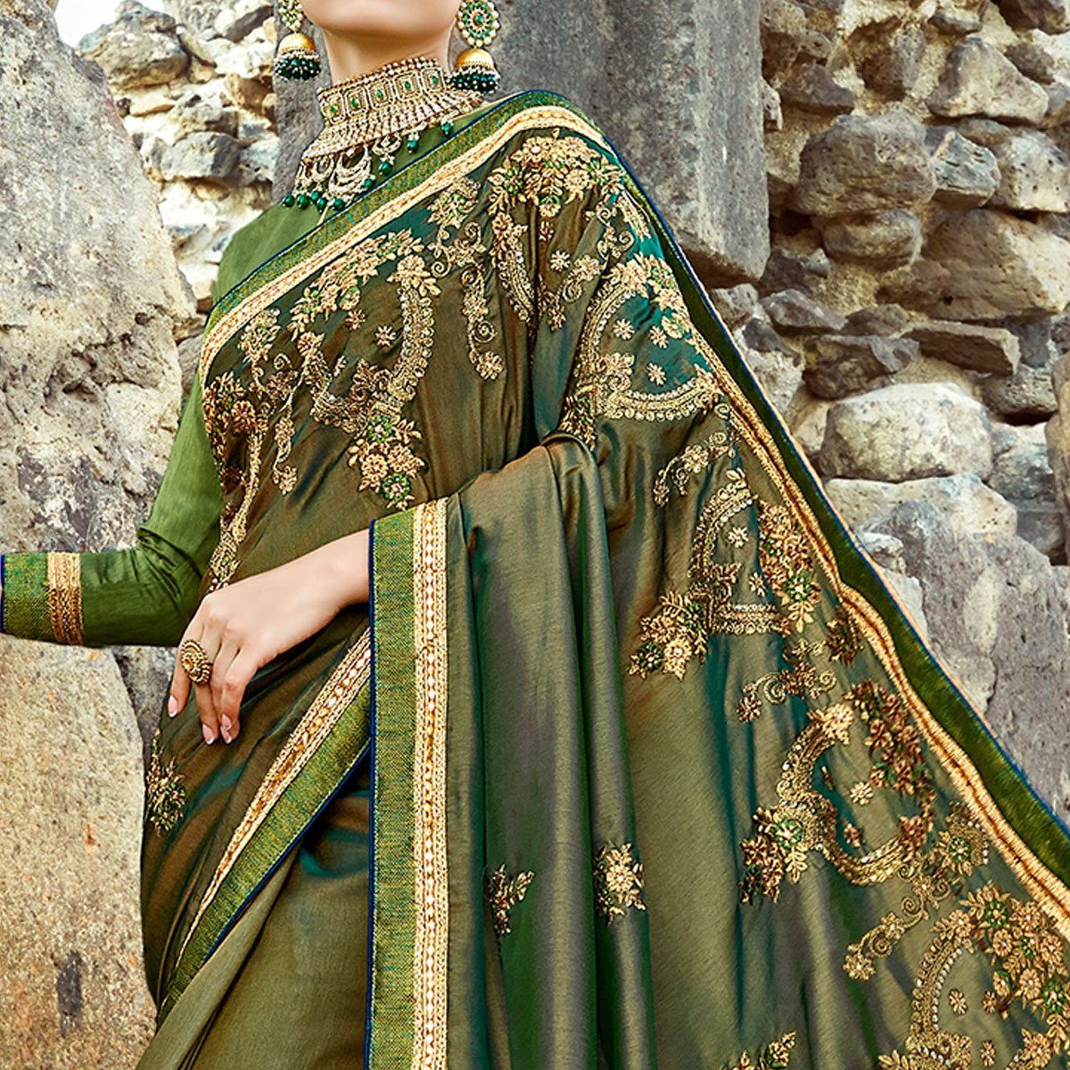 Glorious Green Colored Party Wear Embroidered Silk Saree