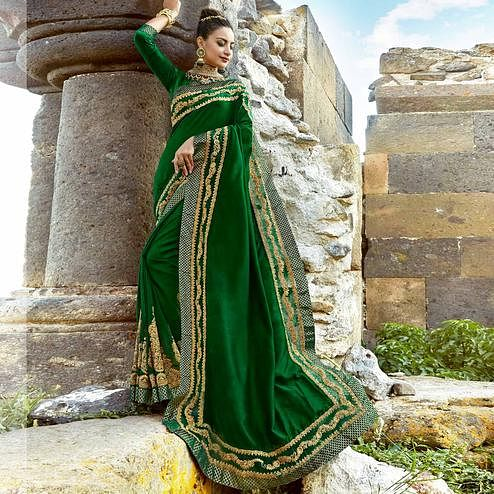 Groovy Dark Green Colored Party Wear Embroidered Silk Saree