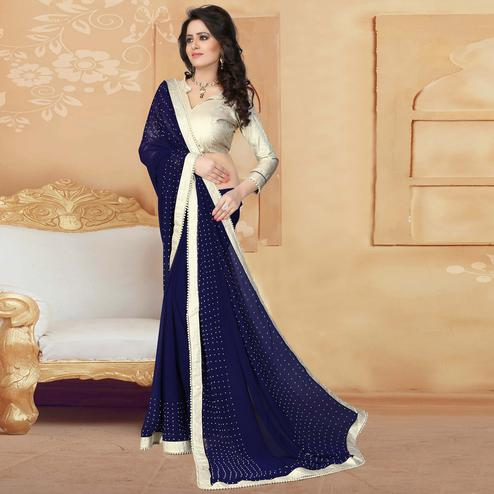 Amazing Navy Blue Colored Party Wear Georgette Saree