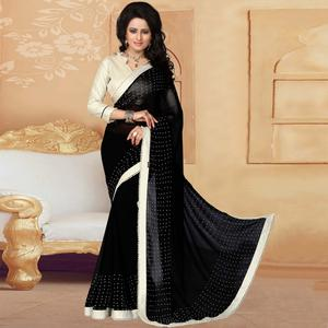 Exotic Black Colored Party Wear Georgette Saree