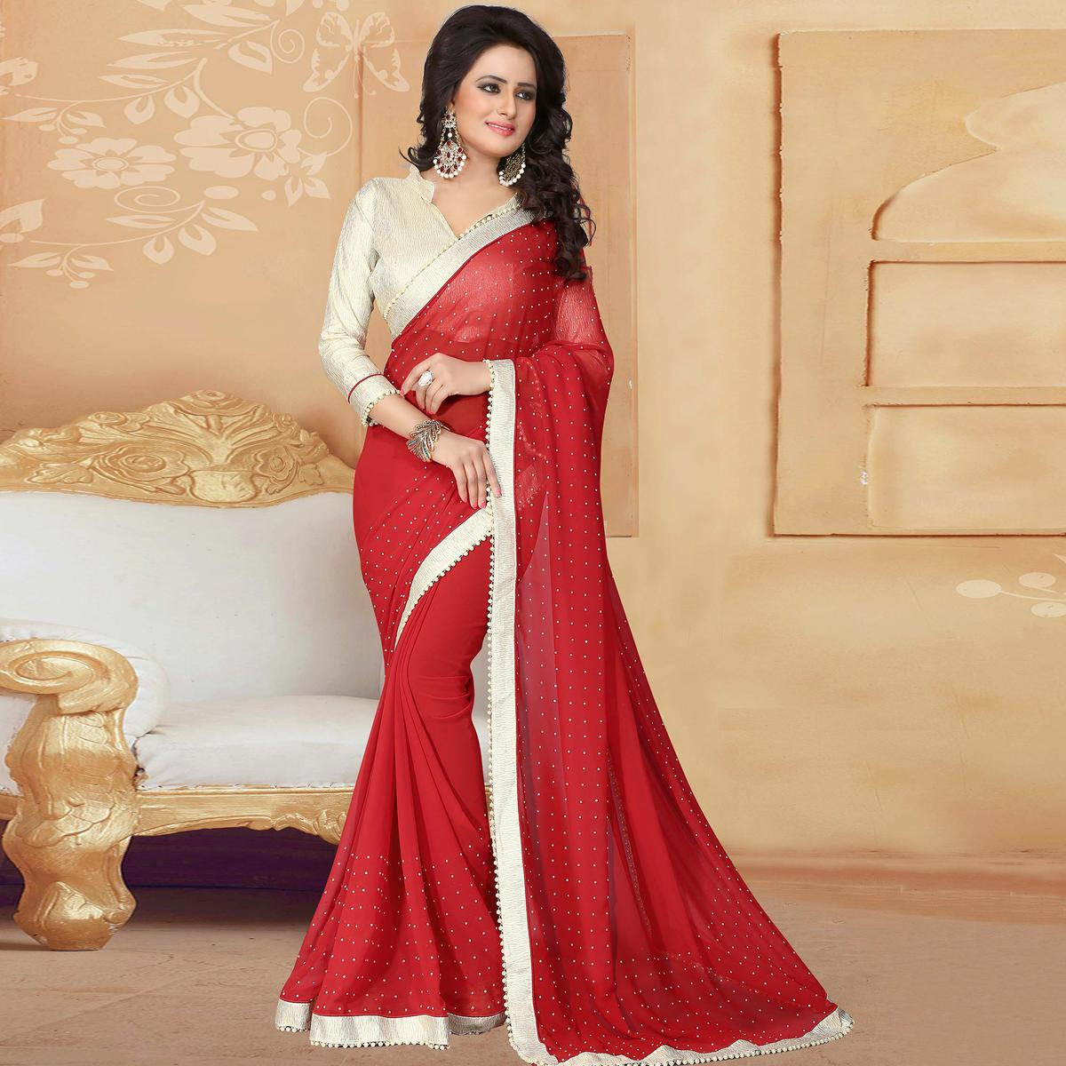 Majesty Red Colored Party Wear Georgette Saree
