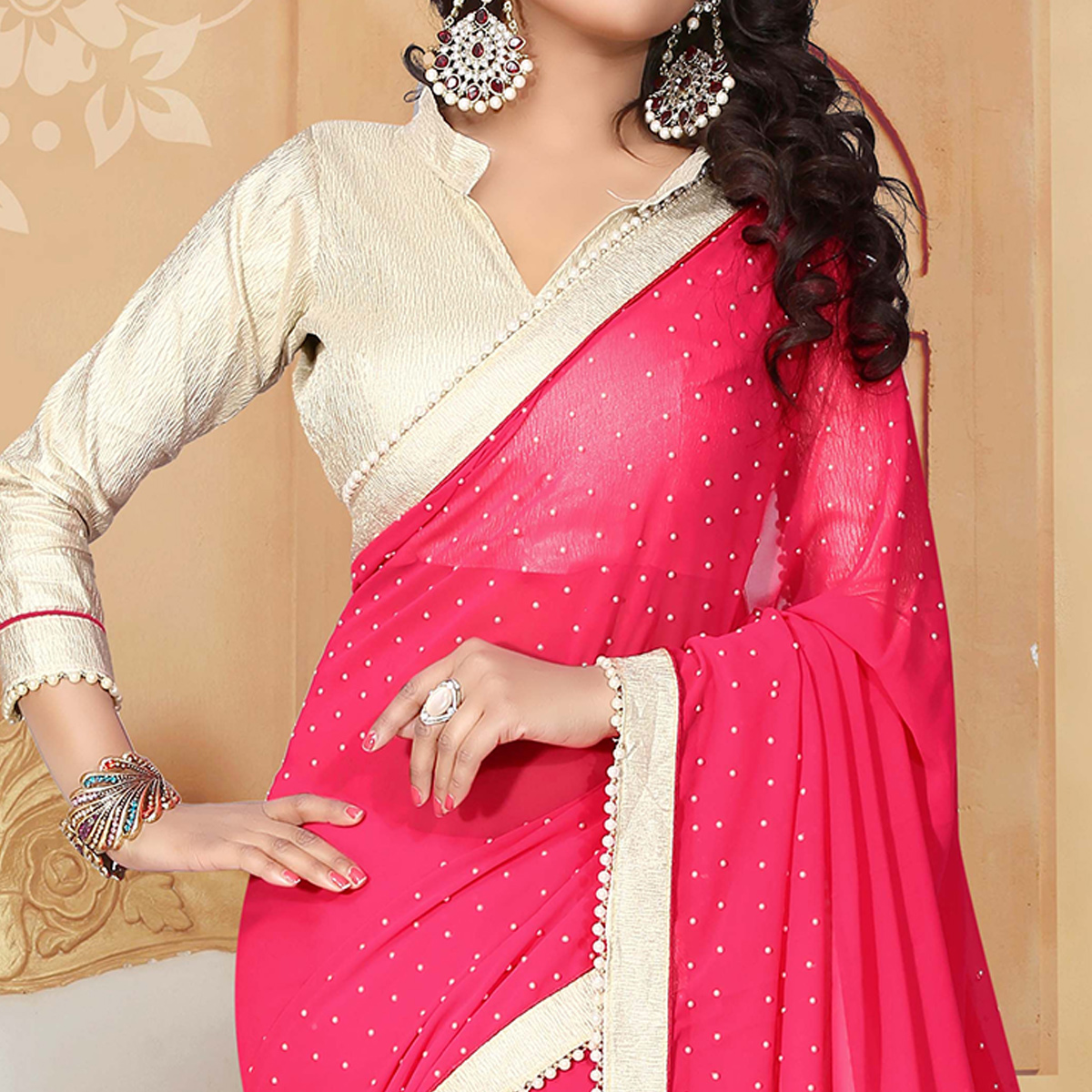 Attractive Dark Pink Colored Party Wear Georgette Saree