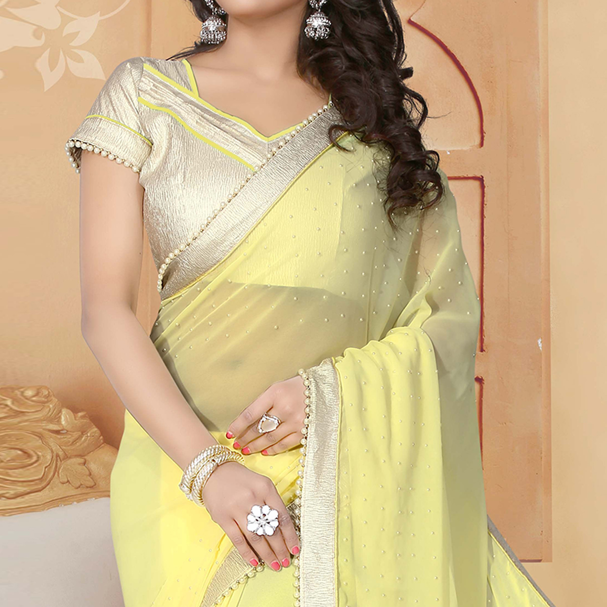 Beautiful Yellow Colored Party Wear Georgette Saree