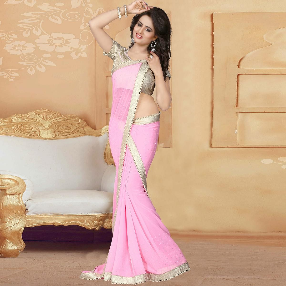Glorious Light Pink Colored Party Wear Georgette Saree