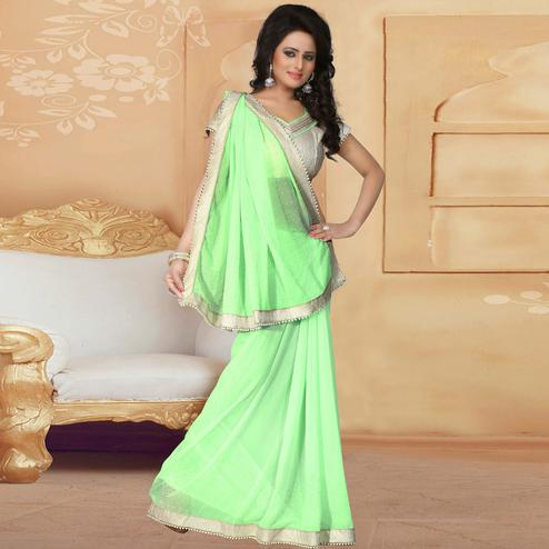 Graceful Light Green Colored Party Wear Georgette Saree