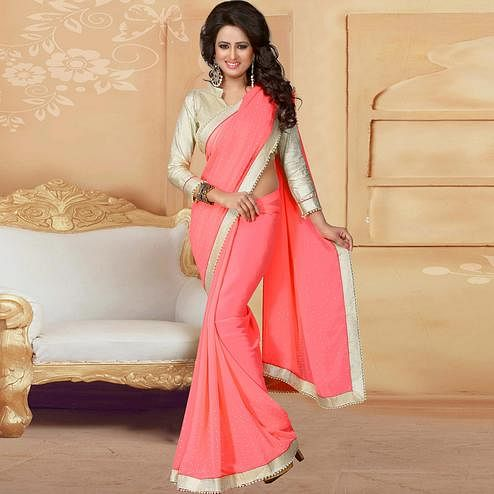 Charming Dark Peach Colored Party Wear Georgette Saree