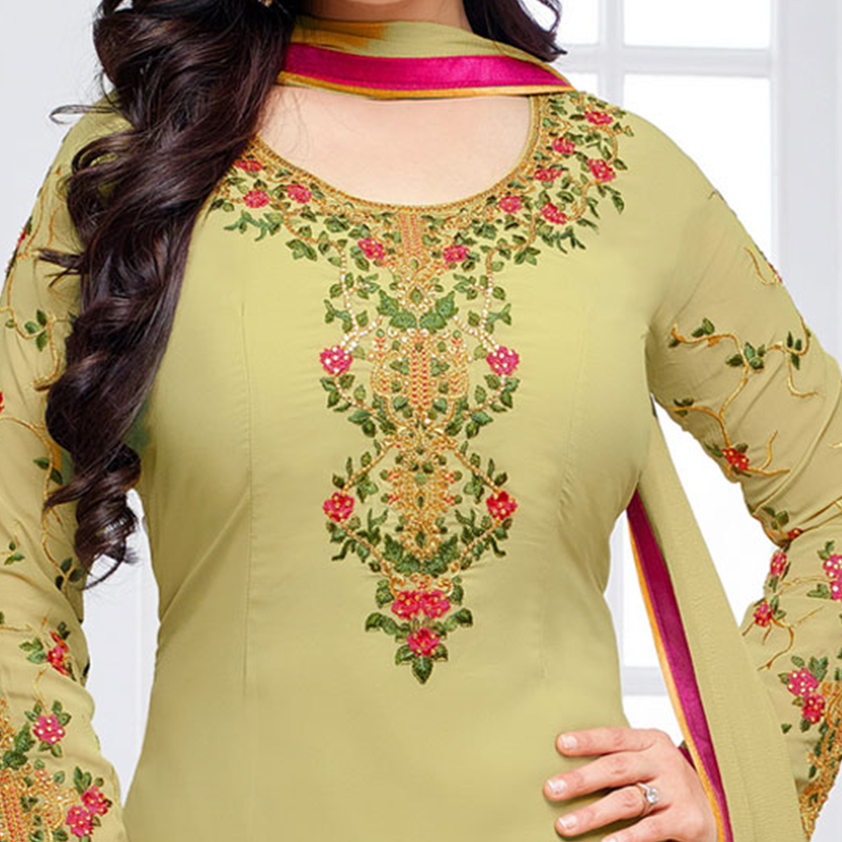 Graceful Olive Green Floral Embroidered Straight Cut Georgette Suit