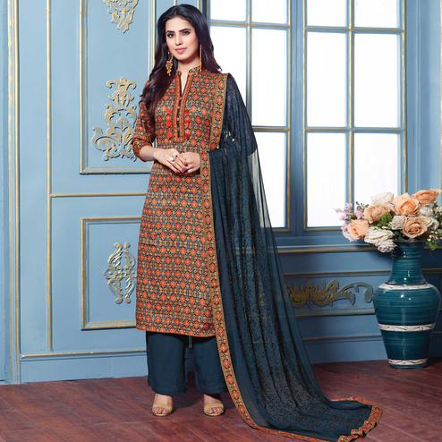 Eye-Catching Multi Colored Partywear Printed Cotton Satin Suit