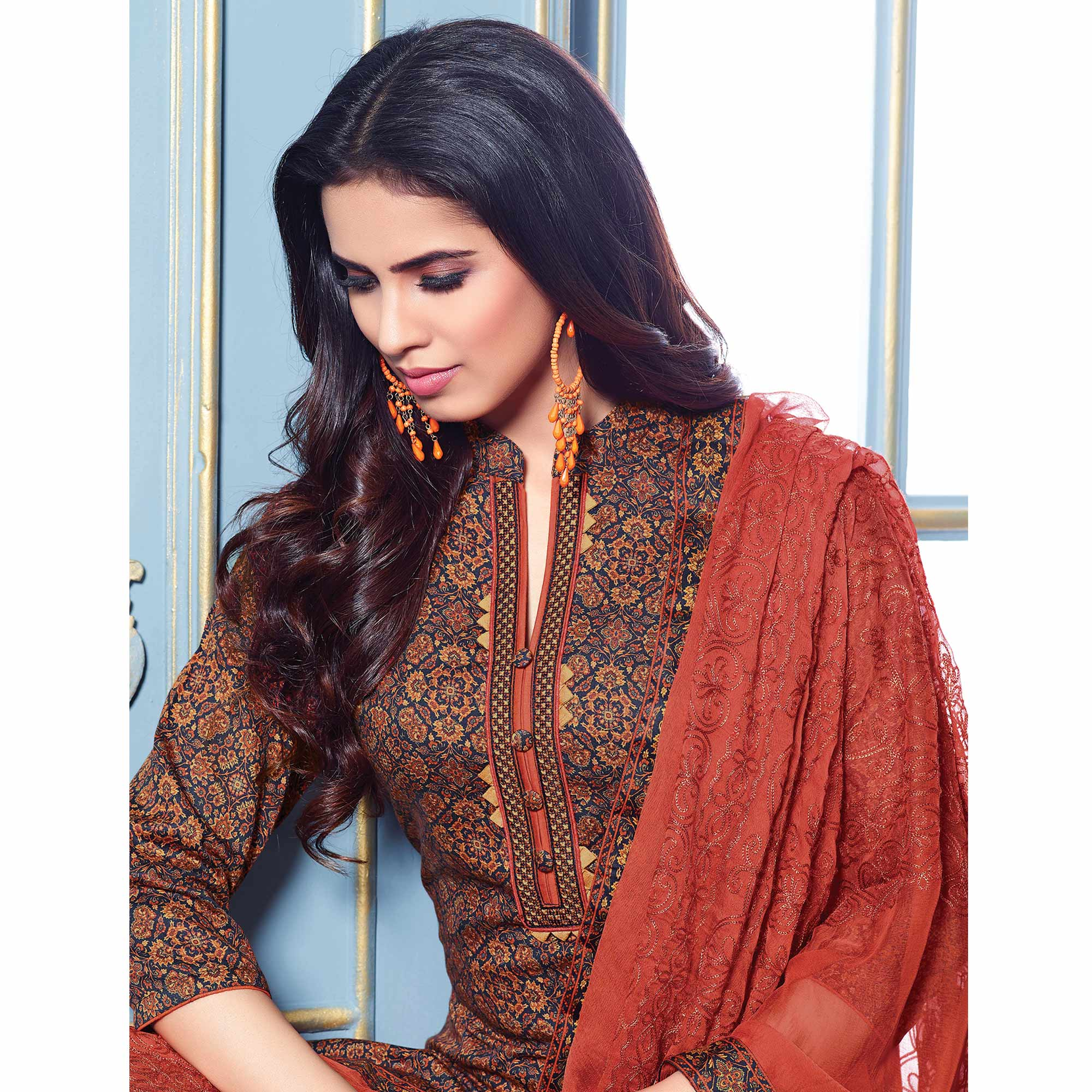 Stylish Multi Colored Partywear Printed Cotton Satin Suit