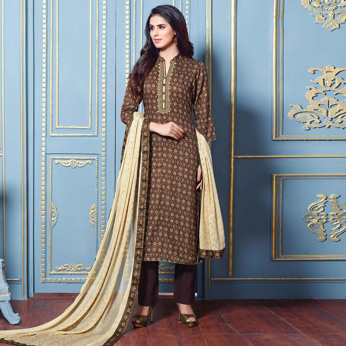 Stunning Brown Colored Partywear Printed Cotton Satin Suit