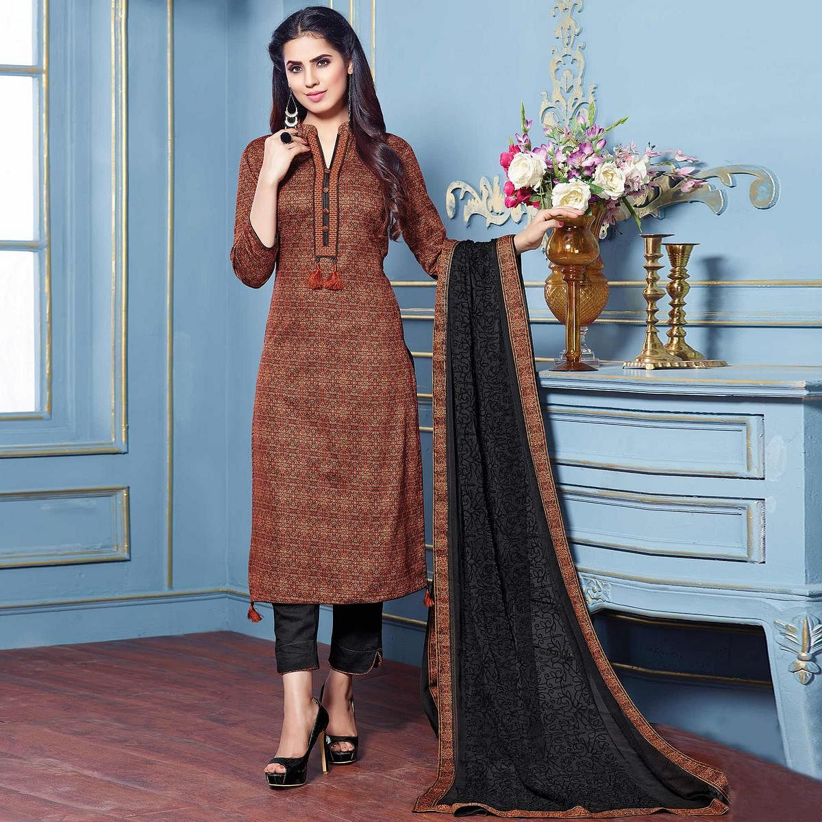 Appealing Brown Colored Partywear Printed Cotton Satin Suit
