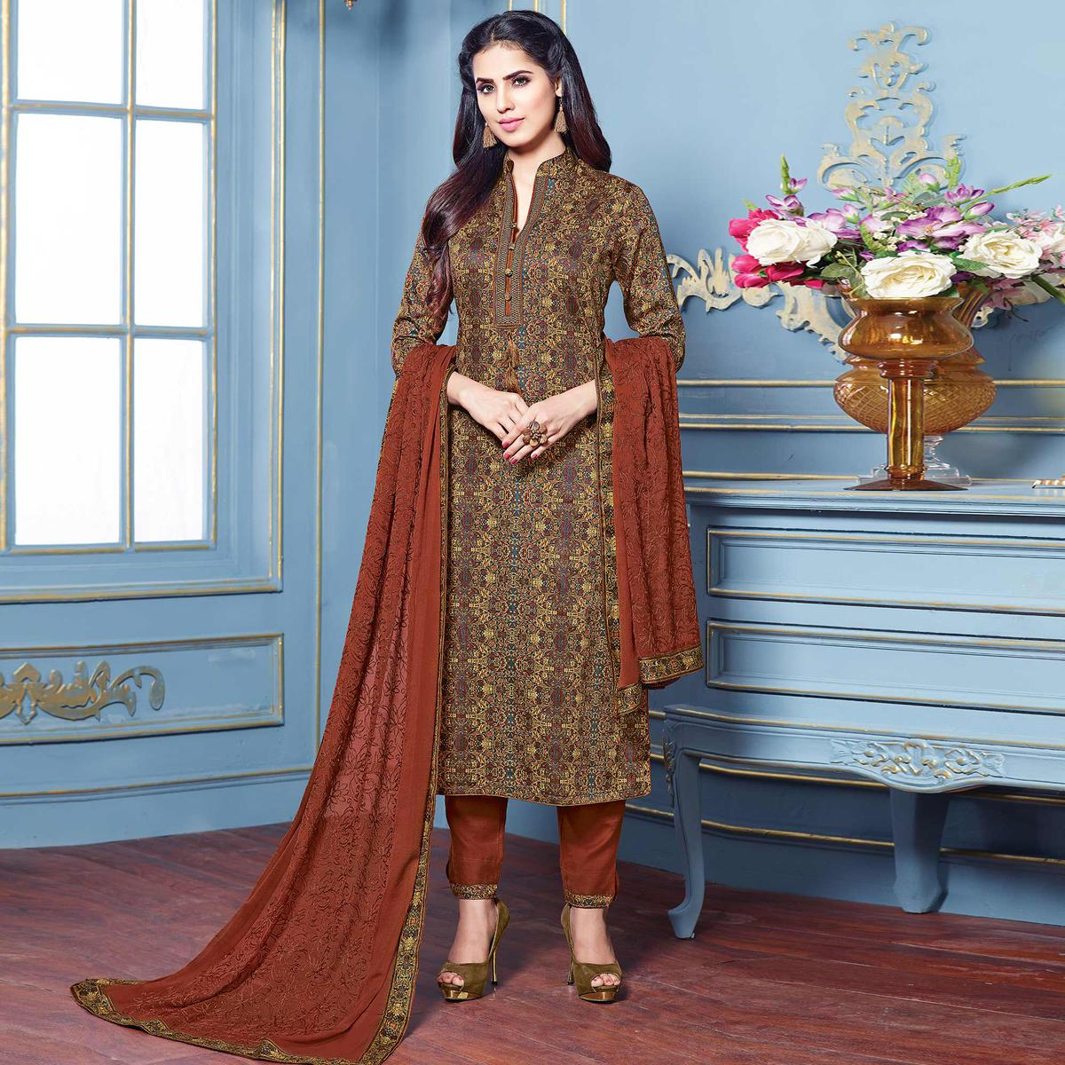 Beautiful Multi Colored Partywear Printed Cotton Satin Suit