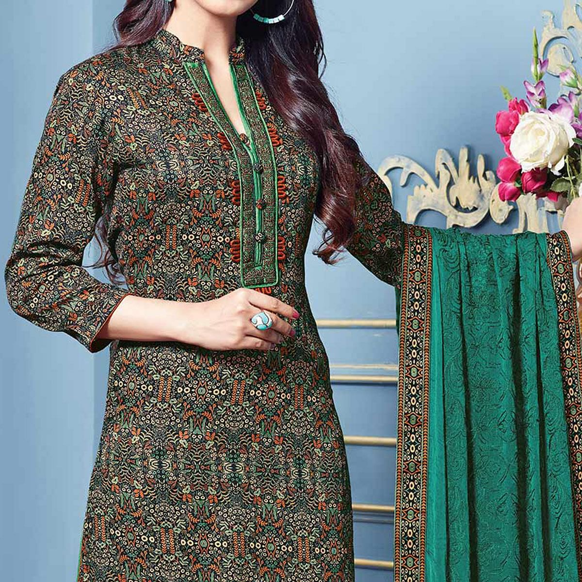 Attractive Multi Colored Partywear Printed Cotton Satin Suit