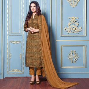 Pleasant Beige Colored Partywear Printed Cotton Satin Suit
