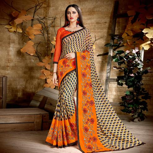 Arresting Multi & Orange Colored Casual Wear Printed Georgette Saree