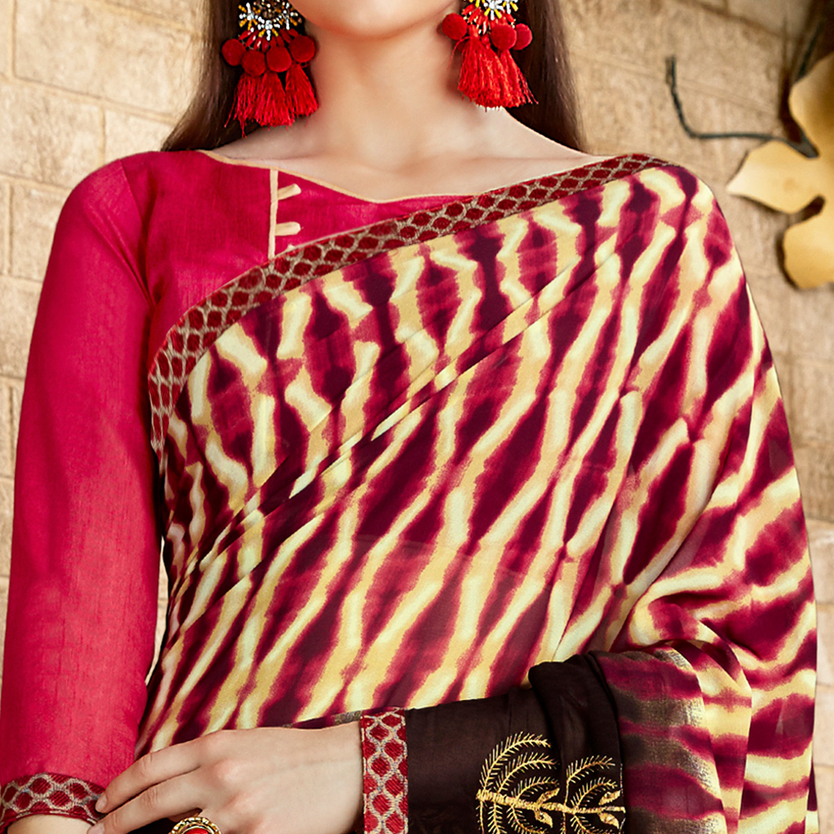 Exceptional Brown & Pink Colored Casual Wear Printed Georgette Saree