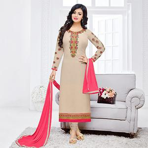 Dazzling Beige Floral Embroidered Straight Cut Georgette Suit