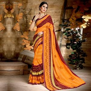 Excellent Orange & Maroon Colored Casual Wear Printed Georgette Saree