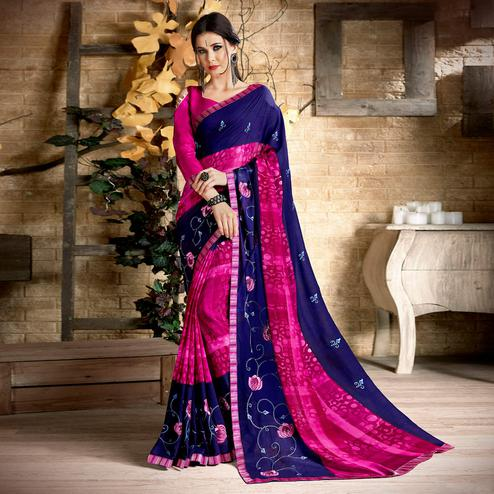 Ethnic Navy Blue & Dark Pink Colored Casual Wear Printed Georgette Saree