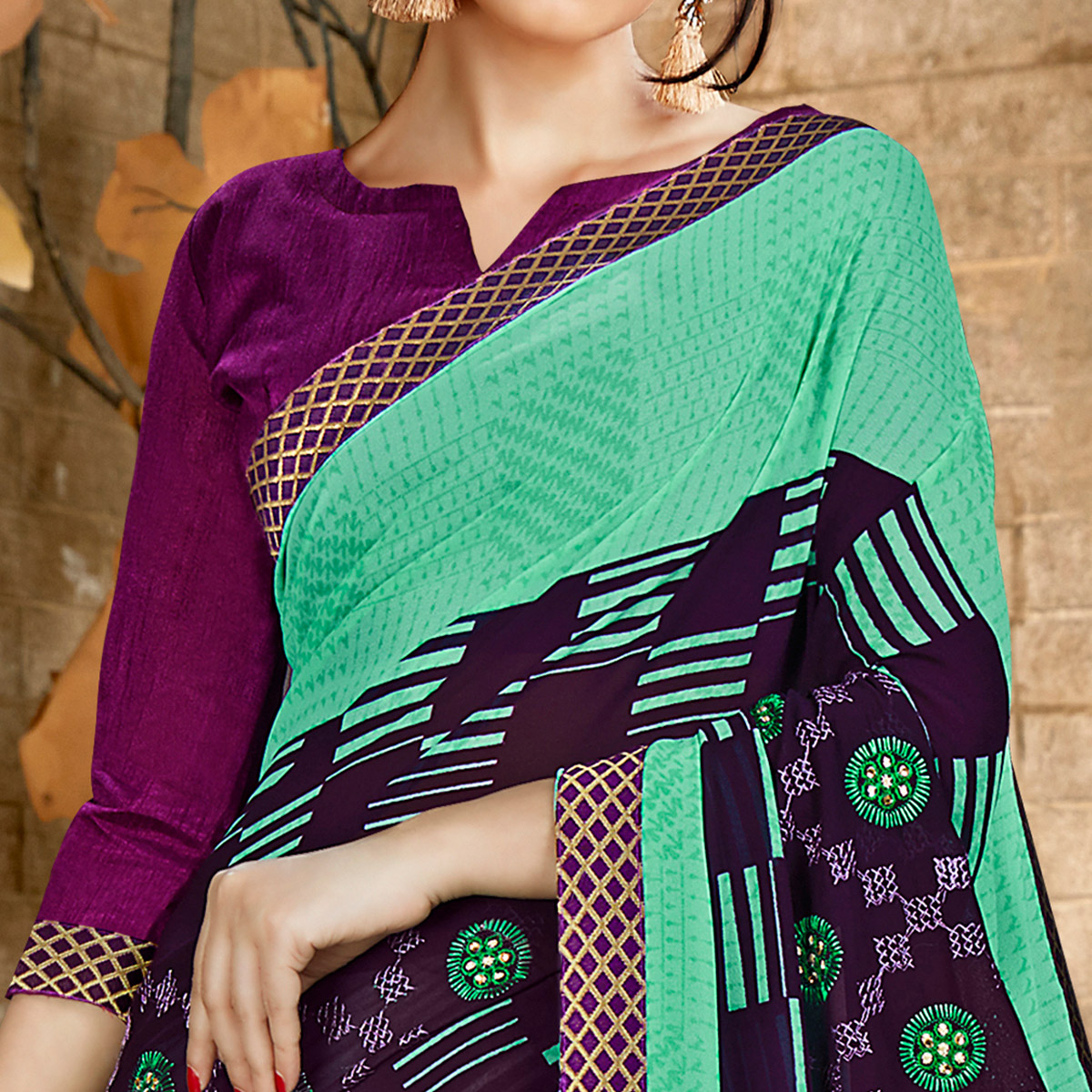Entrancing Sea Green & Purple Colored Casual Wear Printed Georgette Saree