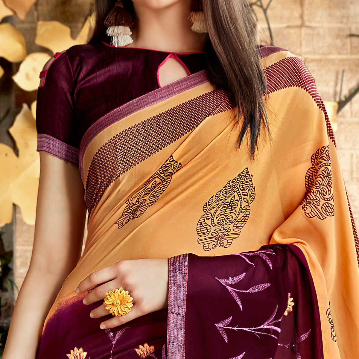 Imposing Light Orange Colored Casual Wear Printed Georgette Saree