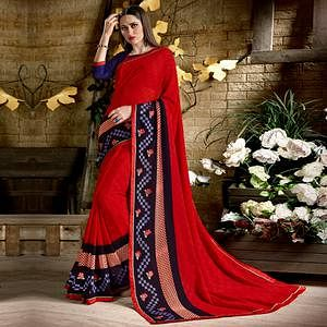 Blissful Red Colored Casual Wear Printed Georgette Saree