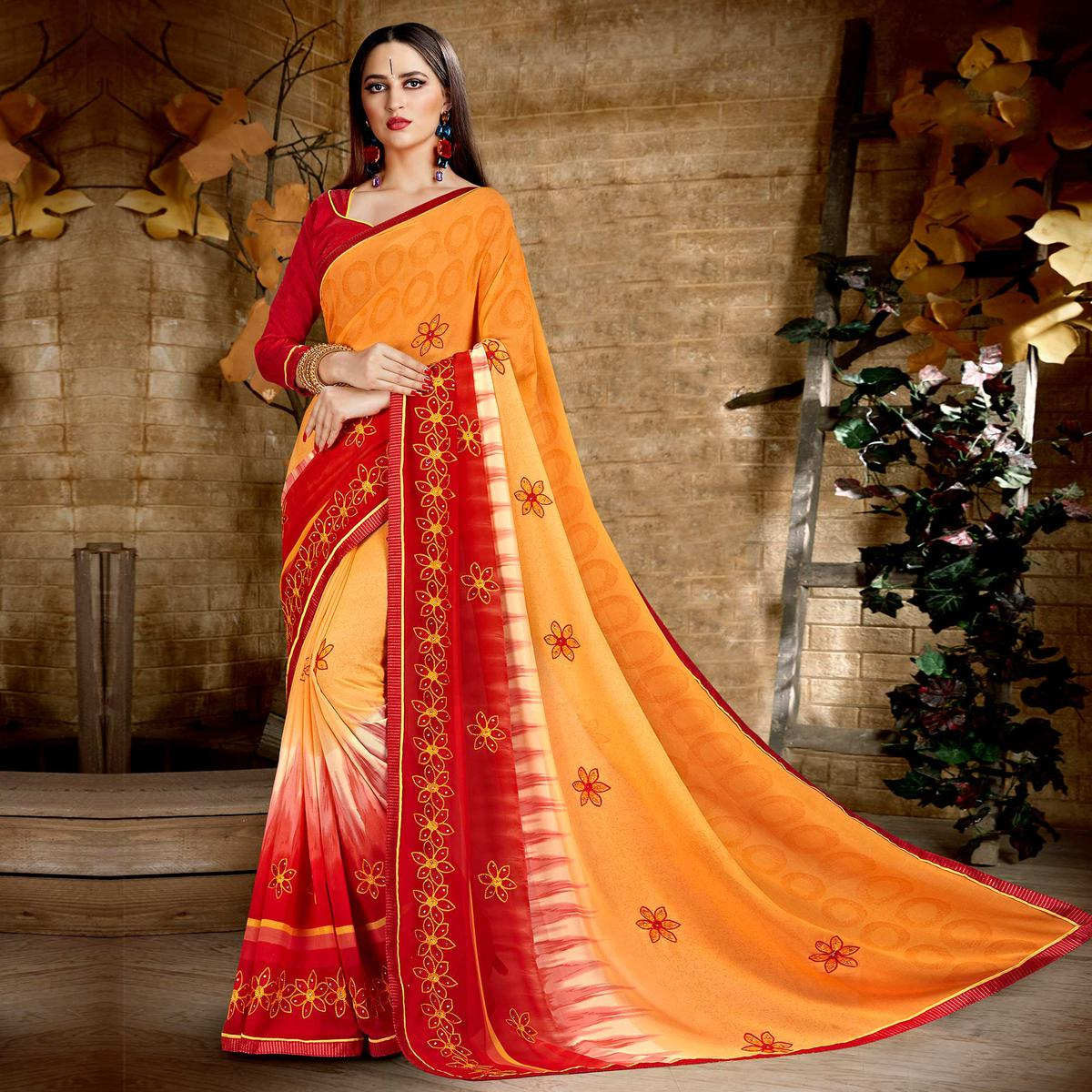 Ideal Orange Colored Casual Wear Printed Georgette Saree