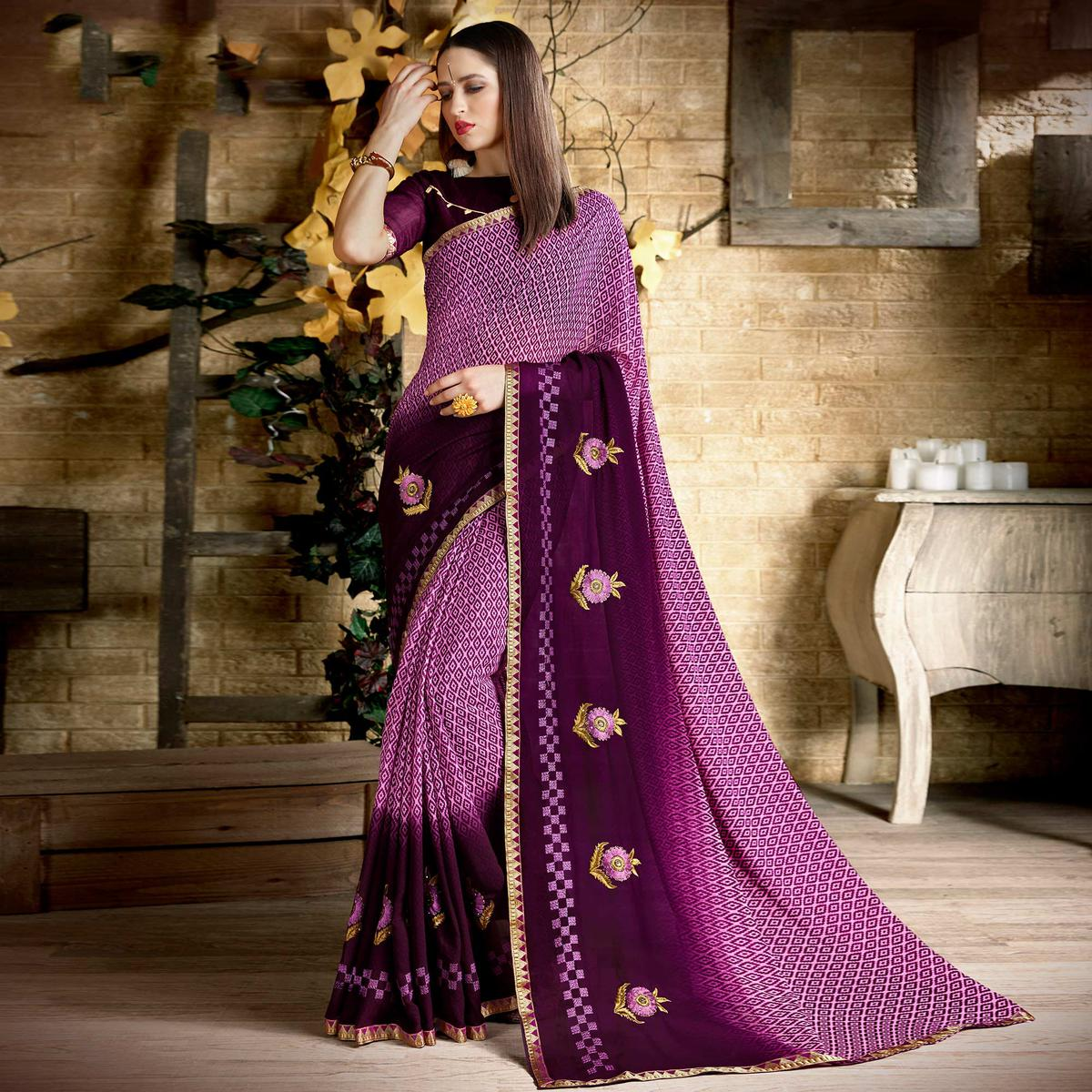 Staring Purple Colored Casual Wear Printed Georgette Saree