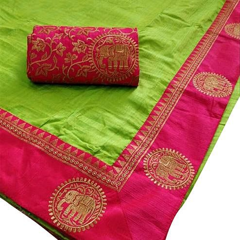 Refreshing Green Colored Festive Wear Art Silk Saree