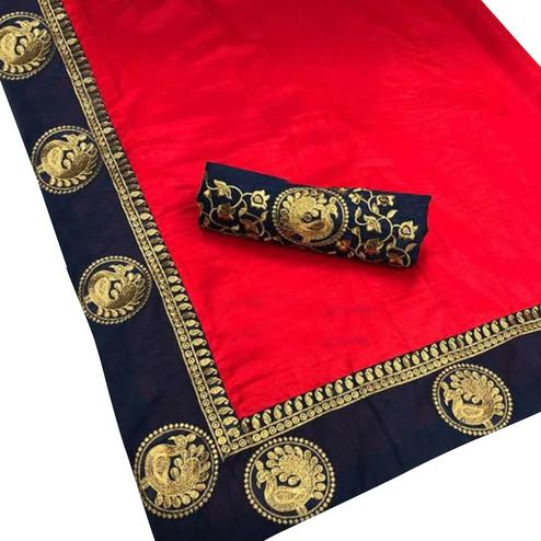 Eye-Catching Red Colored Festive Wear Art Silk Saree