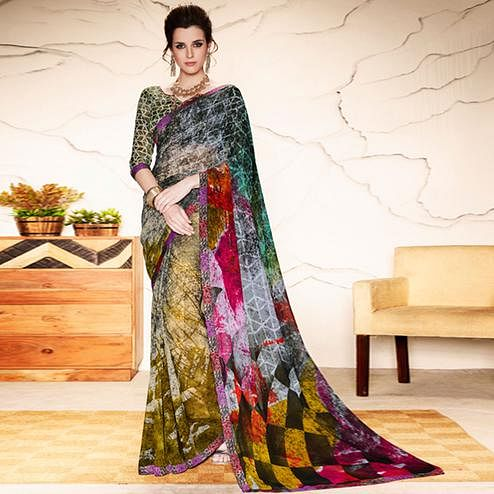 Ravishing Multi Colored Casual Wear Printed Georgette Saree