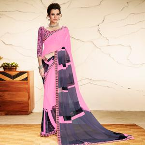 Charming Pink Colored Casual Wear Printed Georgette Saree