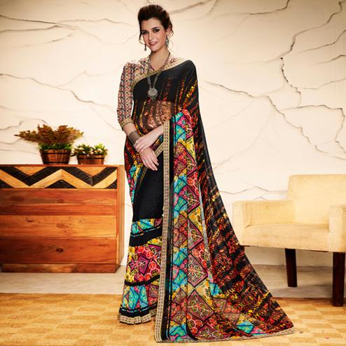 Ideal Black - Multi Colored Casual Wear Printed Georgette Saree