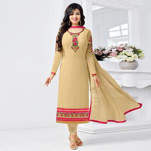 Classy Tan Floral Embroidered Straight Cut Georgette Suit