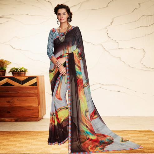 Starring Grey Colored Casual Wear Printed Georgette Saree