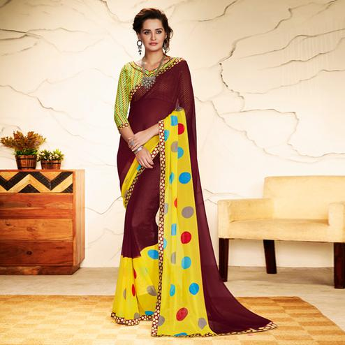 Impressive Brown - Yellow Colored Casual Wear Printed Georgette Saree