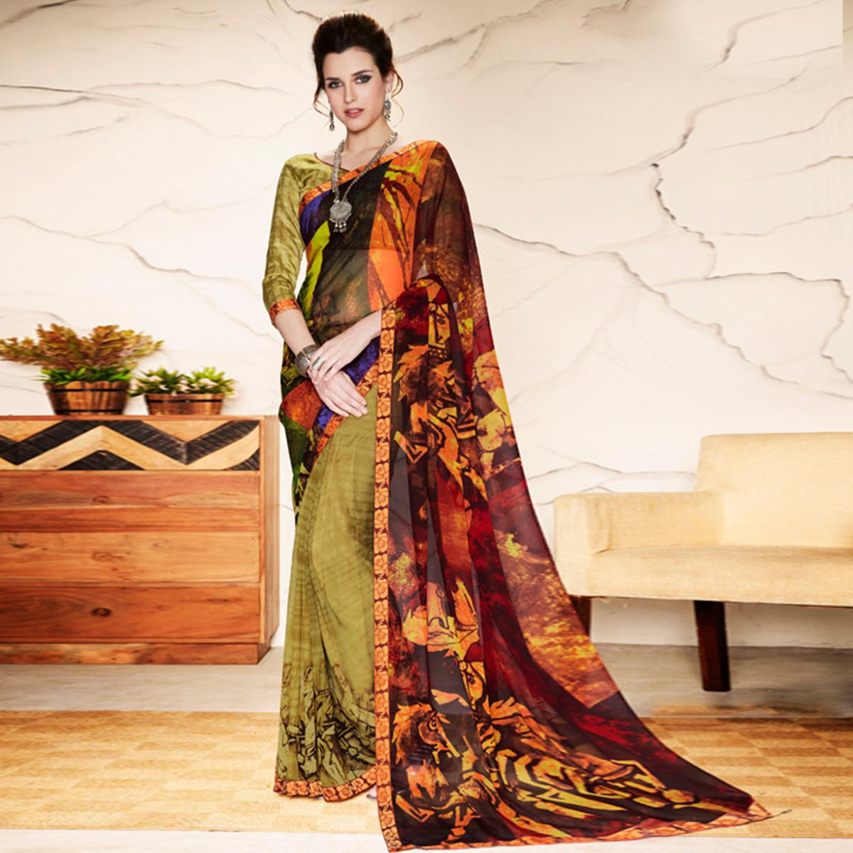 Amazing Olive Green - Multi Colored Casual Wear Printed Georgette Saree
