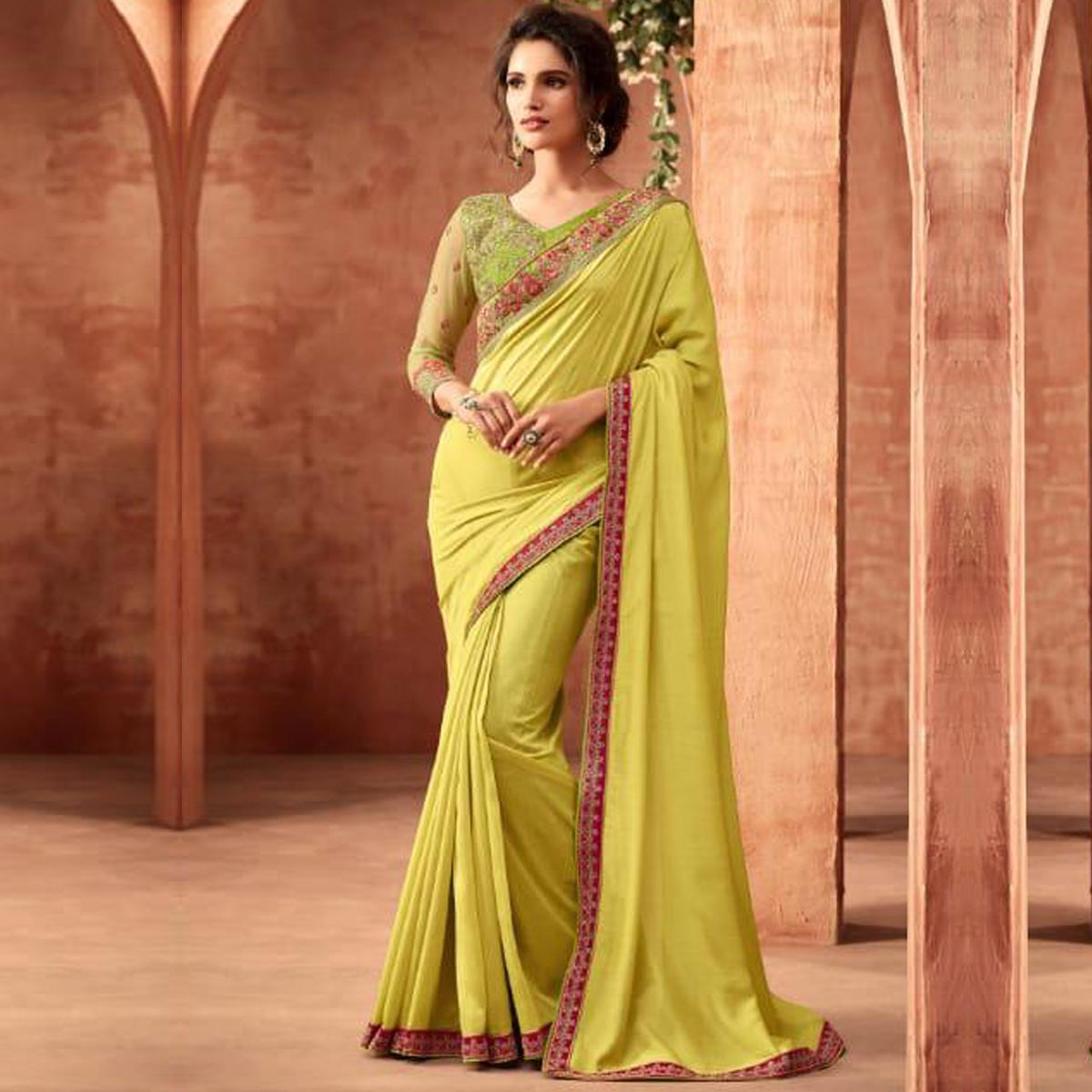 Exceptional Lemon Green Colored Partywear Embroidered Silk Saree