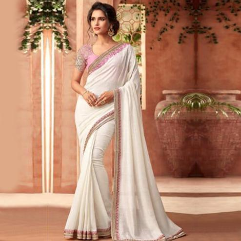 Pleasant White Colored Partywear Embroidered Georgette Saree