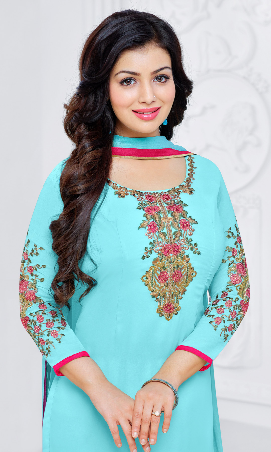 Adorable Sky Blue Floral Embroidered Straight Cut Georgette Suit