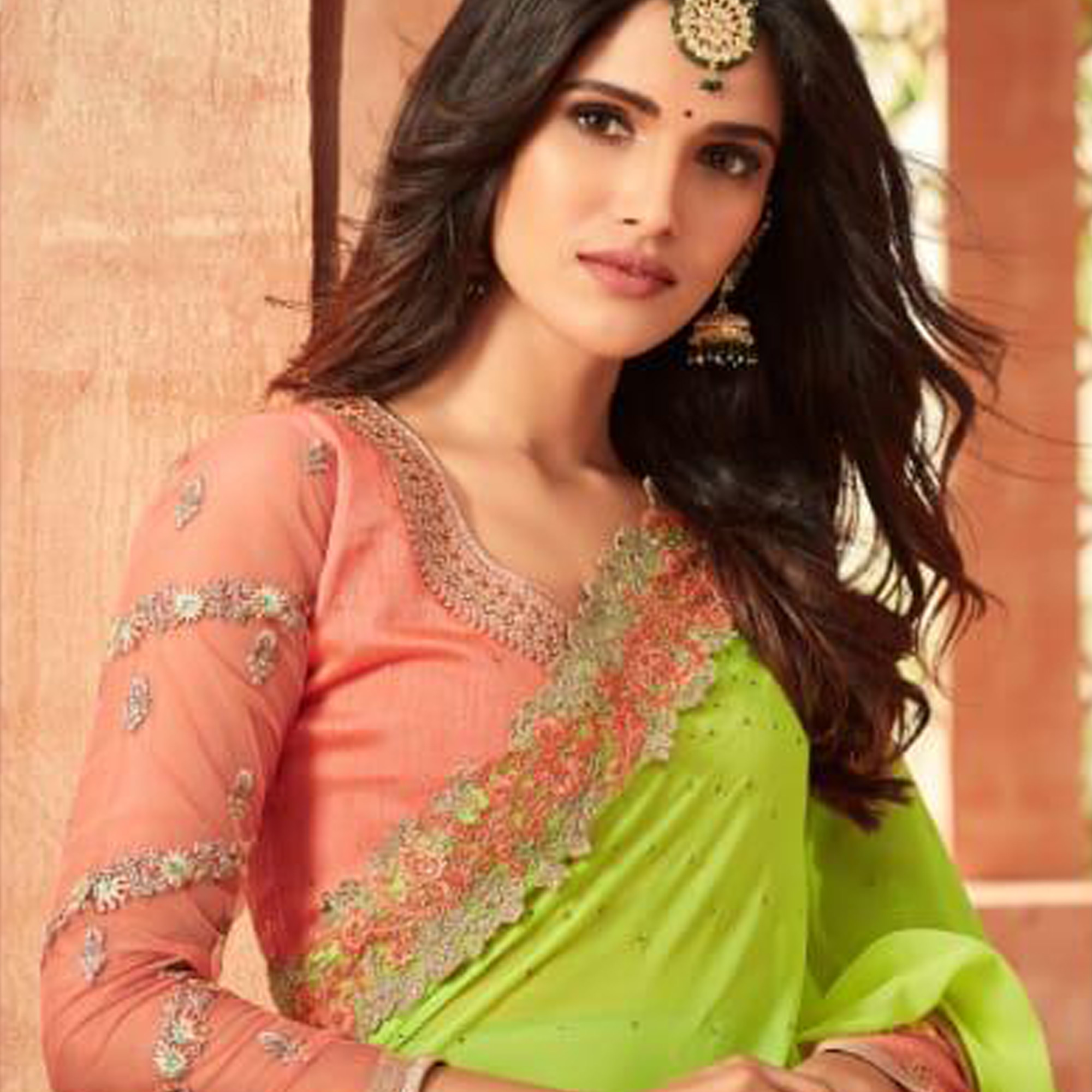 Blooming Green Colored Partywear Embroidered Georgette Saree