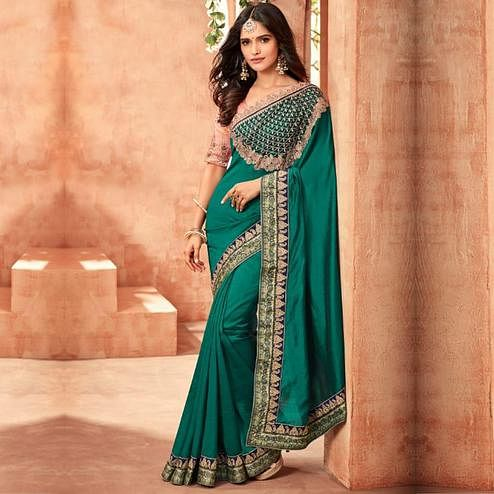 Adorning Teal Green Colored Partywear Embroidered Silk Saree