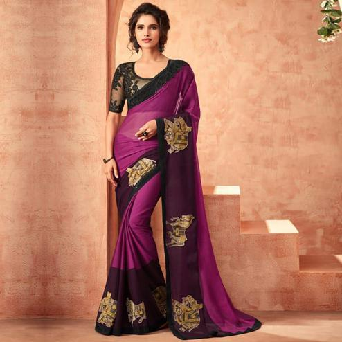 Arresting Pink Colored Partywear Embroidered Silk Saree