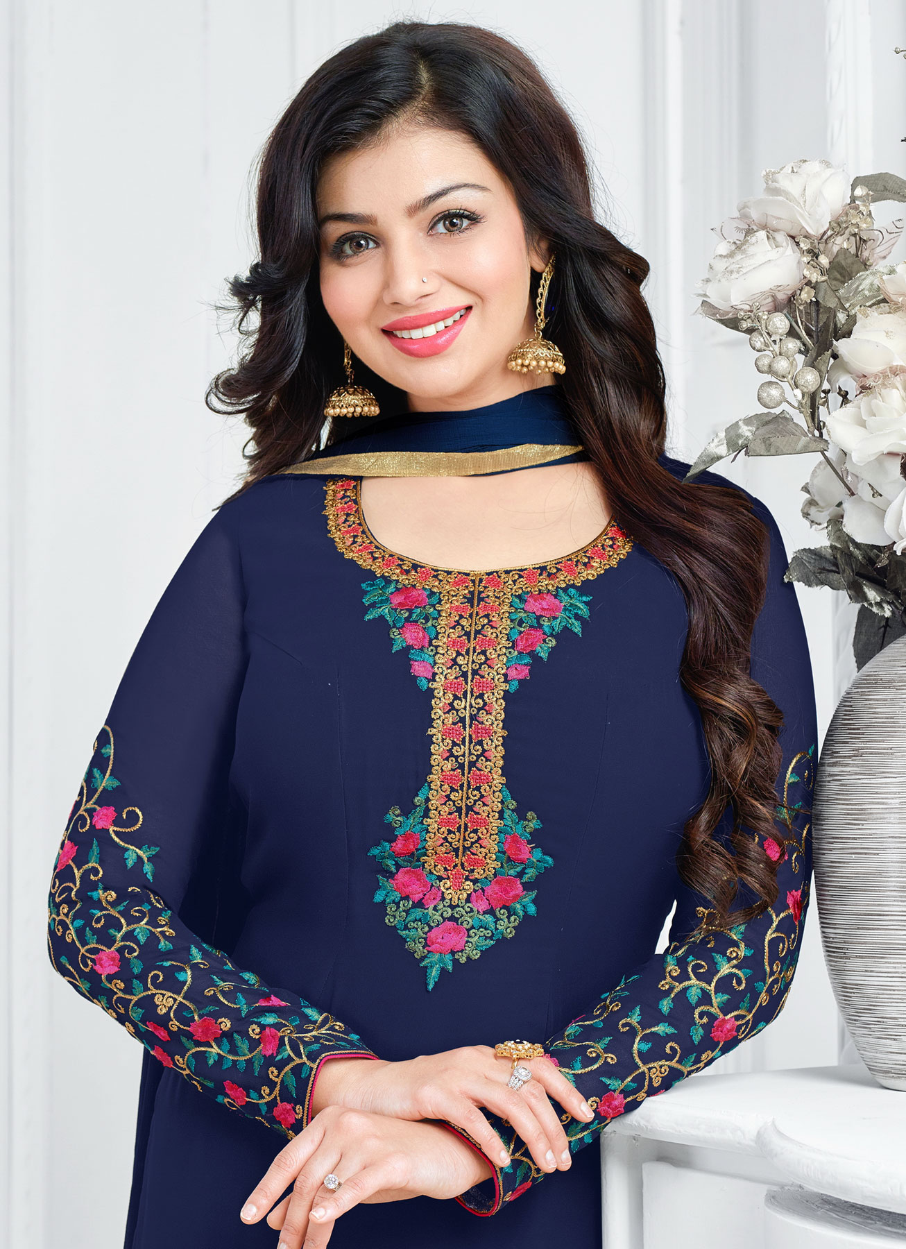 Attractive Navy Blue Floral Embroidered Straight Cut Georgette Suit