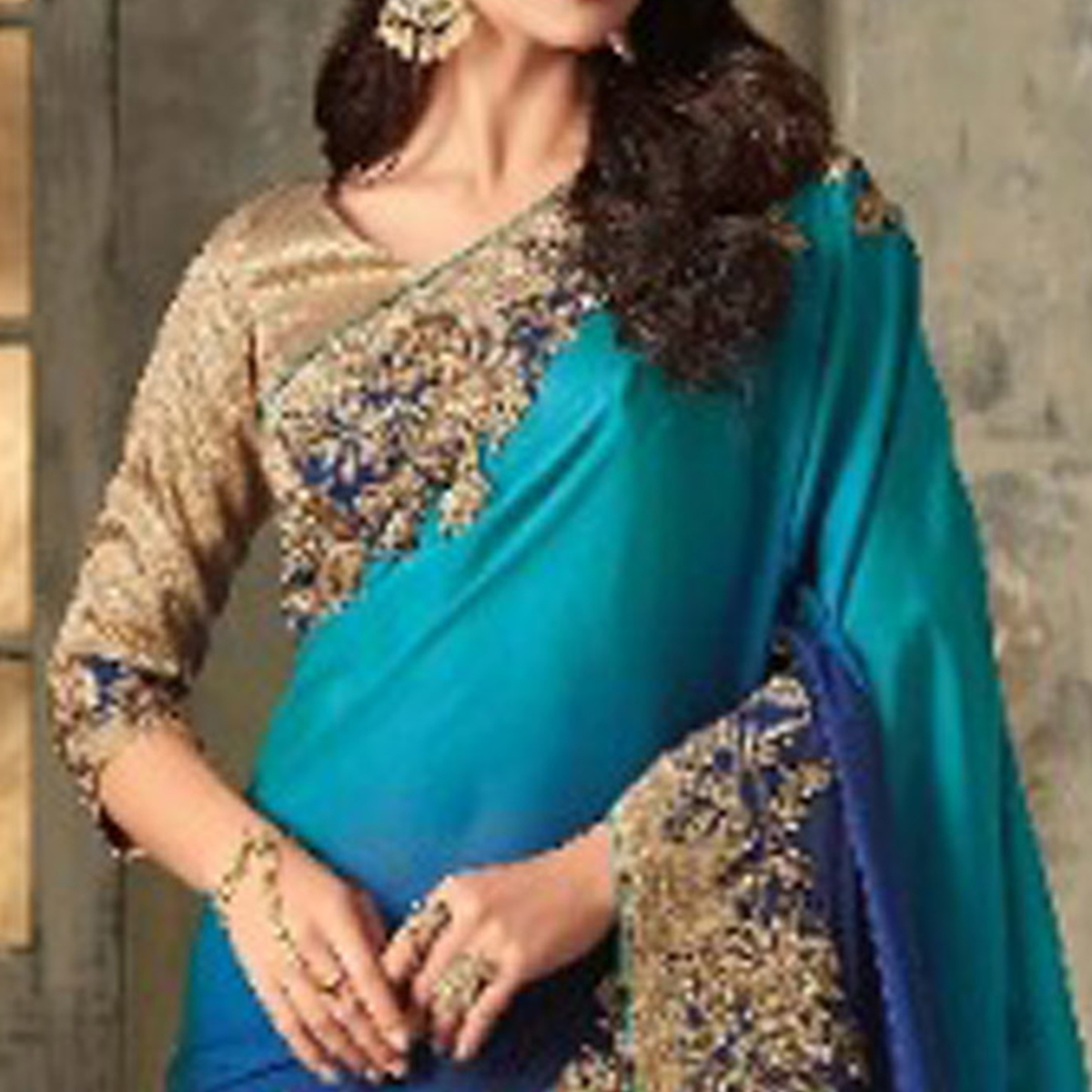 Desirable Shaded Blue Colored Party Wear Embroidered Art Silk Saree