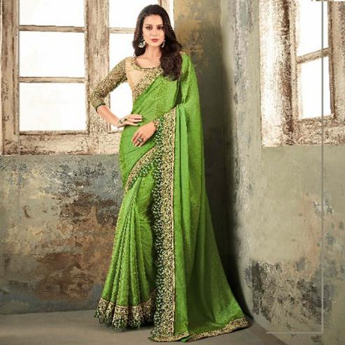 Sophisticated Green Colored Party Wear Embroidered Silk Saree